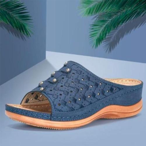 Plain Peep Toe Casual Date Wedge Sandals