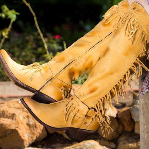 Yellow Vintage Tassel Chunky Heel Boots