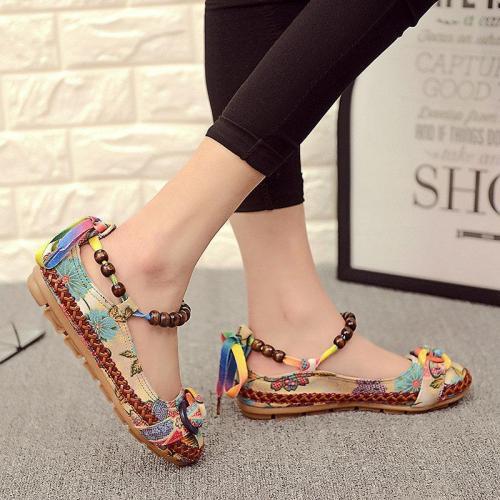 Chain For Women Vintage Retro Lace Up Flat Shoes