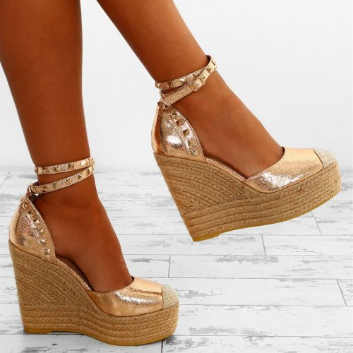 Rose Gold Studded Platform Wedges £32 Regular price