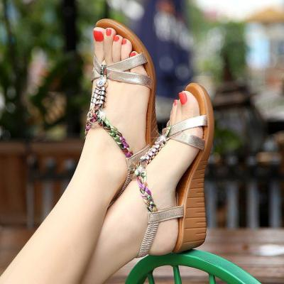 New Style Slope Heel Sandals for Women Summer Bohemia Thick Bottom Beach Shoes for Women