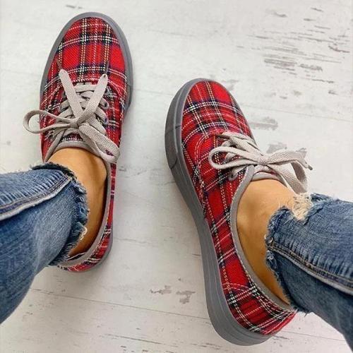 Plaid Lace-Up Platform Sneakers