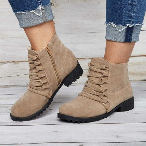 Women Fashion Ankle Boots Faux Suede Zipper Boots