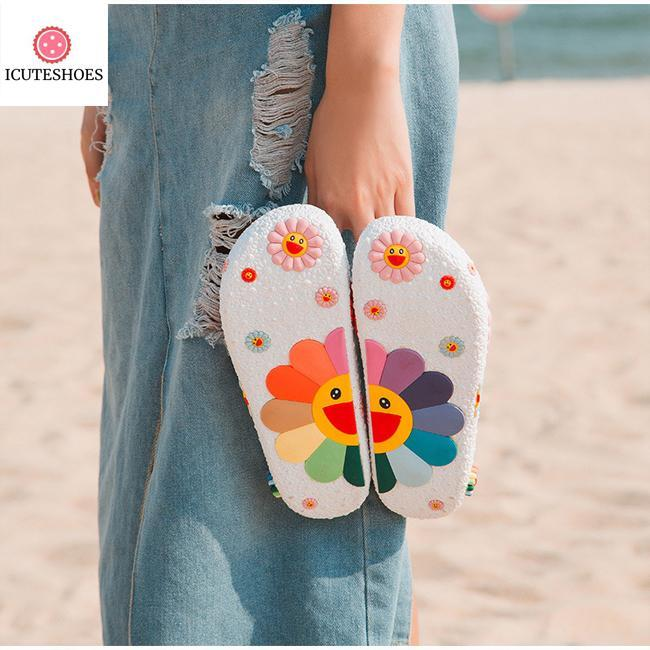 Cute Sunflower Flat Flip Flops Ladies Soft Slides Shoes Female Print Floral Bling