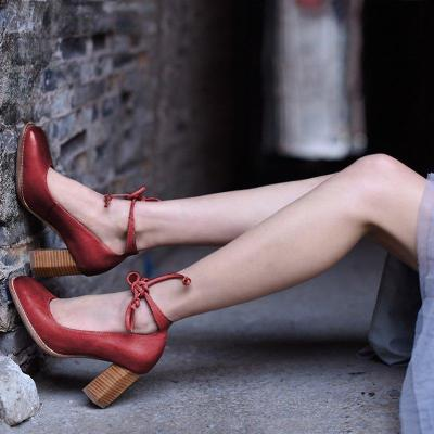 Ankle Lace-Up Square Toe Mary Jane High Heels Shoes