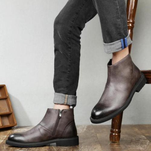 Casual Carve patterns Martin bullock short Cowhide boots