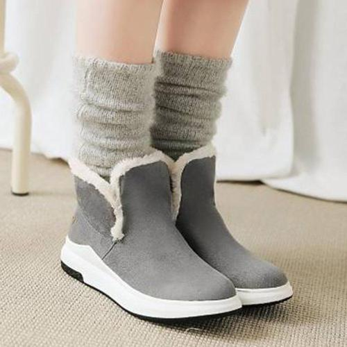 Large Size Women Winter Solid Color Round Toe Warm Lining Short Snow Boots