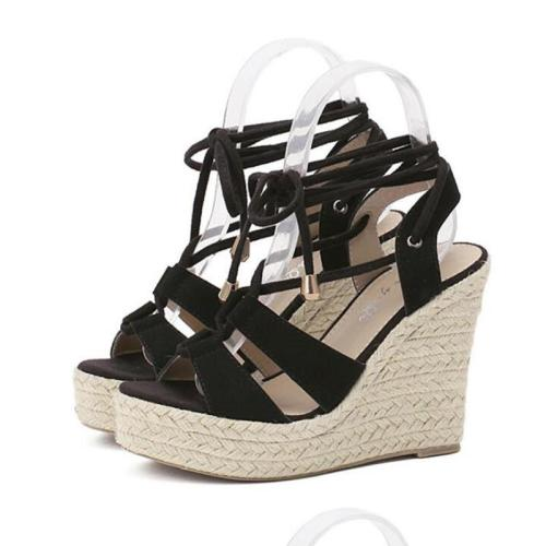Fashion Straw-weaved Wedges Criss-cross Flocking Women Sandals