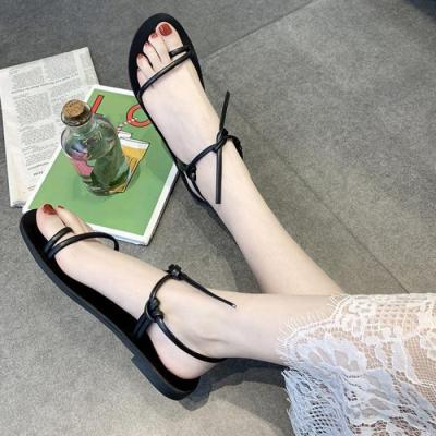 Vintage Sandals PU Anti-slip Wear-resistant Simple Flat Shoes