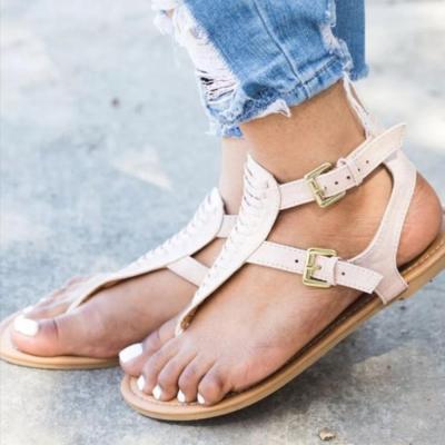 Plain  Flat  Faux Leather  T Strap  Peep Toe  Casual Gladiator Sandals