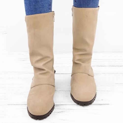 Vintage Zipper Low Heel Mid-calf Boots Women Shoes