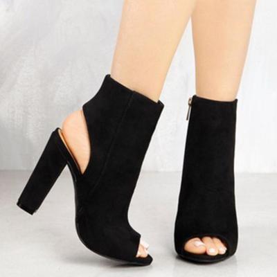 Summer Elegant Peep Toe High Tube Side Zip Sky-High Chunky Sandals