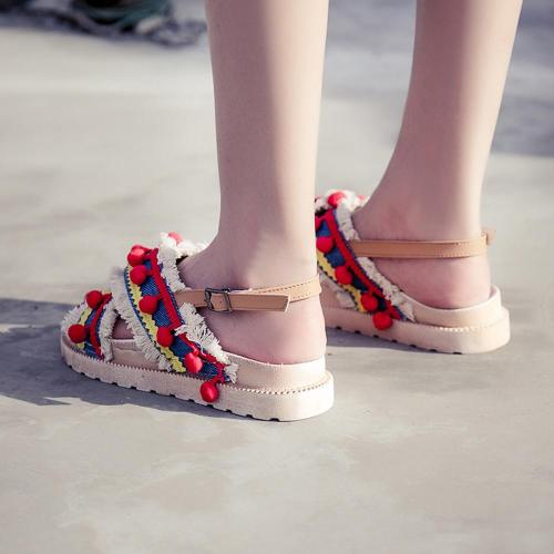 Vintage Sandals Shoes Female Women Ethnic Style Tassel Hairball Sandals