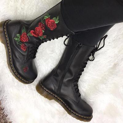 Classic ladies embroidery lacing low-heel mid boots