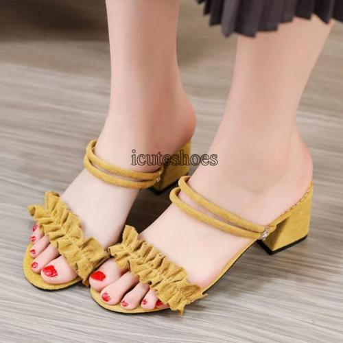 2020 New Female Summer Fashion Sandals Fashion Word with Chunky Heel Fairy Sandals