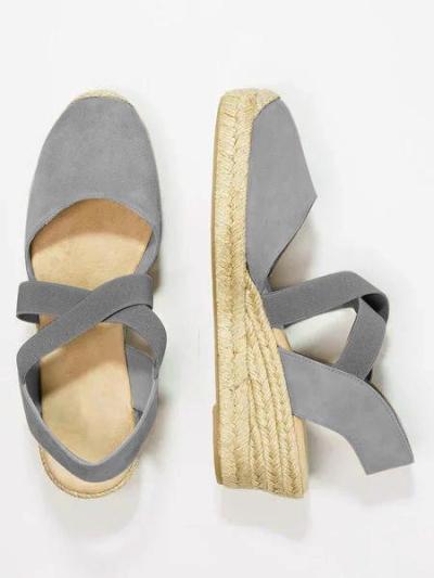 Espadrille Wedge Sandals Elastic Band Slip On Sandals