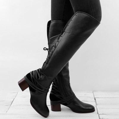 Women Vintage Boots European Style Bandage Above Knee Boots