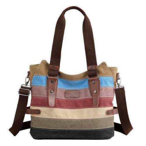 KVKY Canvas Stripe Handbag Vintage Contrast Color Shoulder Bag