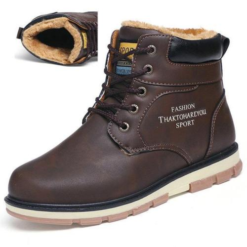 High Quality Pu Leather Waterproof Casual Warm Men Boots
