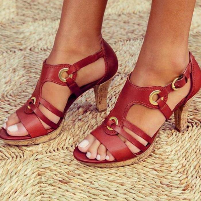 Fashion High Heels Eyelet Buckle Sandals