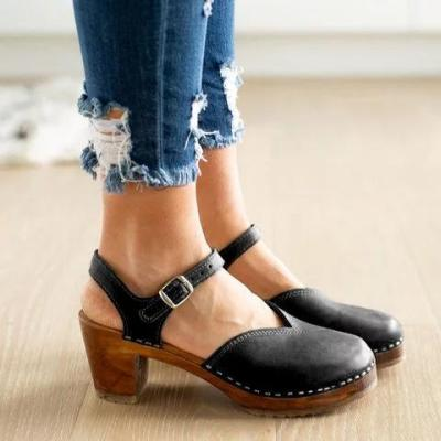 Clogs For Women Vintage Buckle Strap Closed Toe Shoes