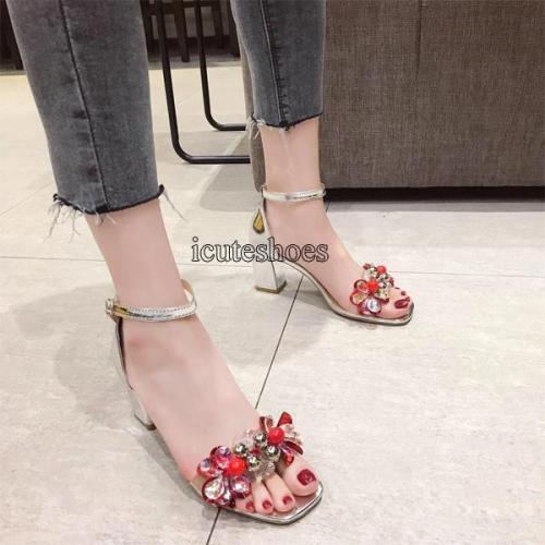 Summer New Transparent Chunky Heel High Heels Rhinestone Flower Toe Buckle Sandals