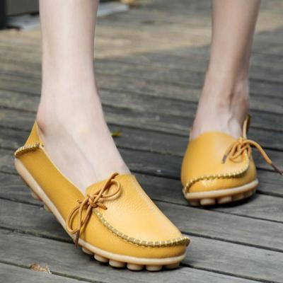 Women's White PU Flat Non-slip Bow-trim Flat Shoes