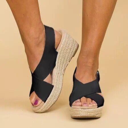 High Heels Wedges Cross-Band Buckle Straw-Weaved Sandals