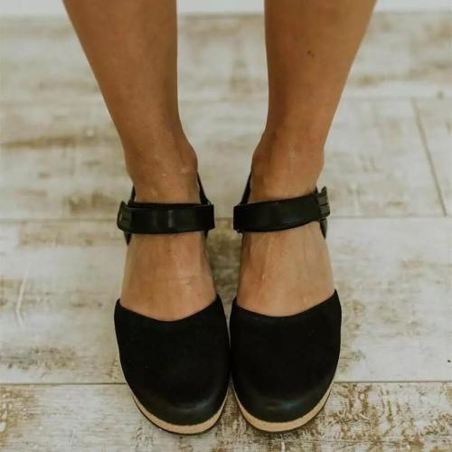 Women's PU Round Toe Buckle High Wedge Sandals