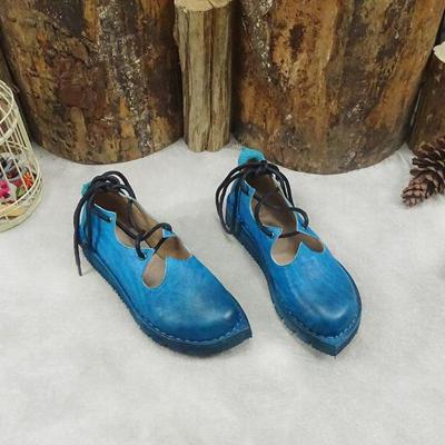 Blue Thick Lace Vintage Flats