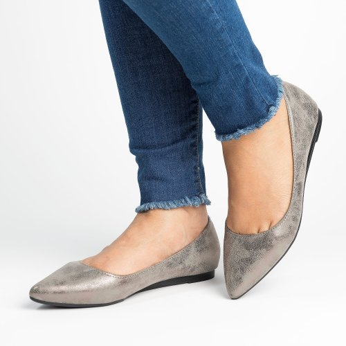 Distressed Pewter Almond Toe Flats
