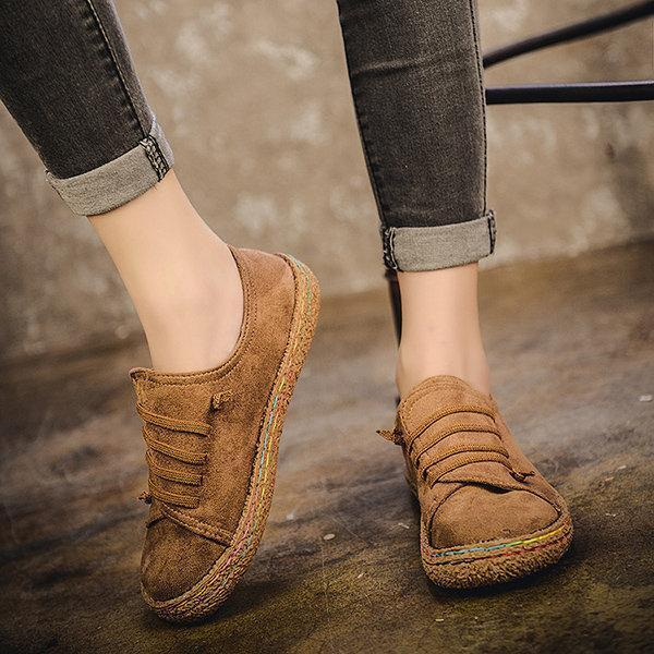 Suede Slip On Soft Loafers Lazy Casual Flat Shoes For Women