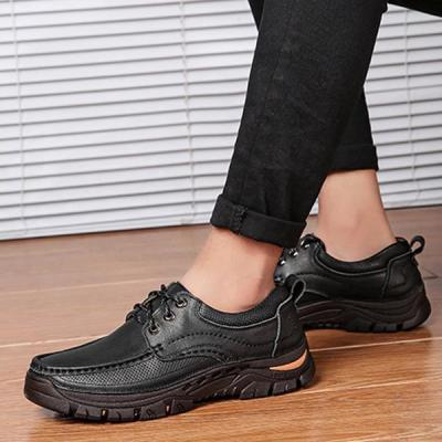 Mens Lace-up Casual Outdoor Genuine Leather Flat Shoes