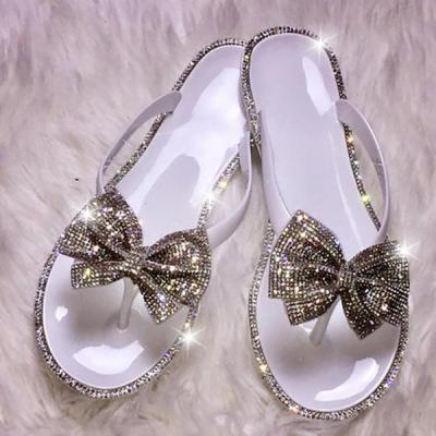 Uellos Crystal Jelly Bow Flip Slippers