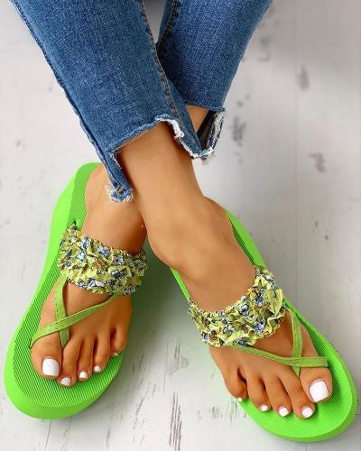 Toe Ring Print Frill Hem Platform Casual Sandals