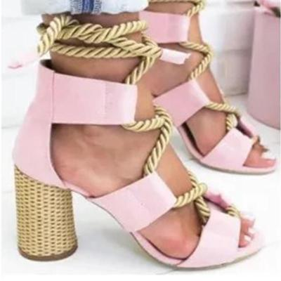 Multicolor String Crisscross High Heels Hollow Sandals