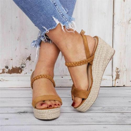Straw Open Toe Versatile Platform Sandals