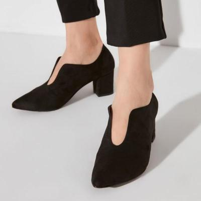 Solid Front Cut Out High-heel Boots
