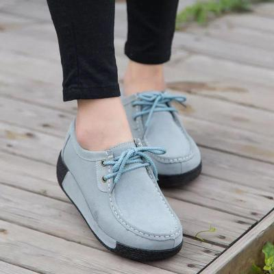 Flocking Solid Lace-Up Wedges Shoes