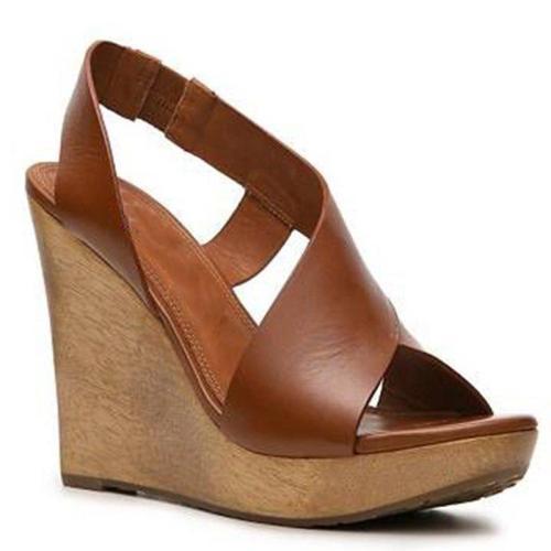 High Wedges Elastic Strap Peep Toe Brown Summer Sandals