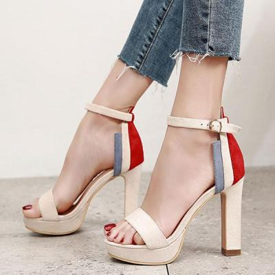 Color Matching Suede Waterproof Platform Thick High Heel Sandals for Women