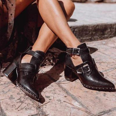 Womens fashion pointy low-cut heel ankle boots
