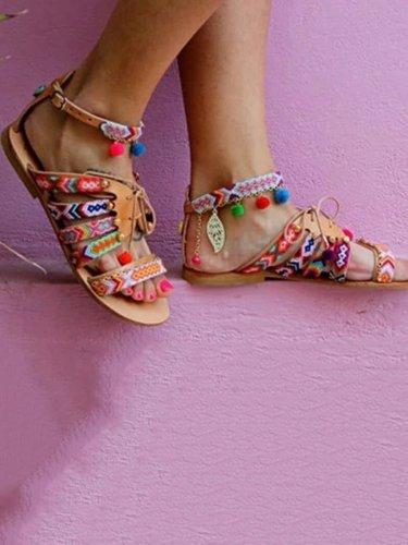 Bohemian Multicolor Buckle Sandals Woman Shoes