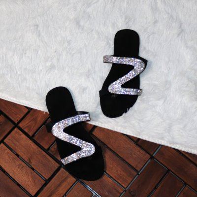Women Casual Shiny Embellished Toe Post Slippers