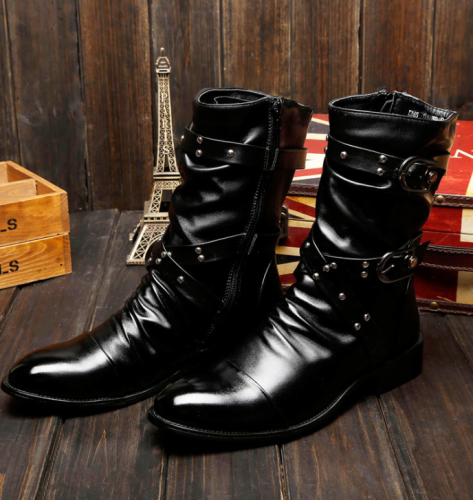 Autumn and winter high-top leather shoes rivet trend Martin boots