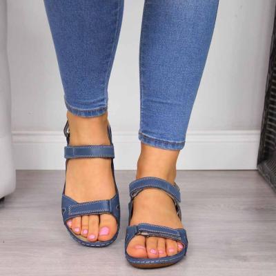 Casual Hook&Loop Closure Solid Flat Women Sandals