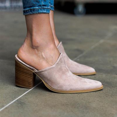 Sneak Print High Chunky Heels Pointy Toe Mule Sandals