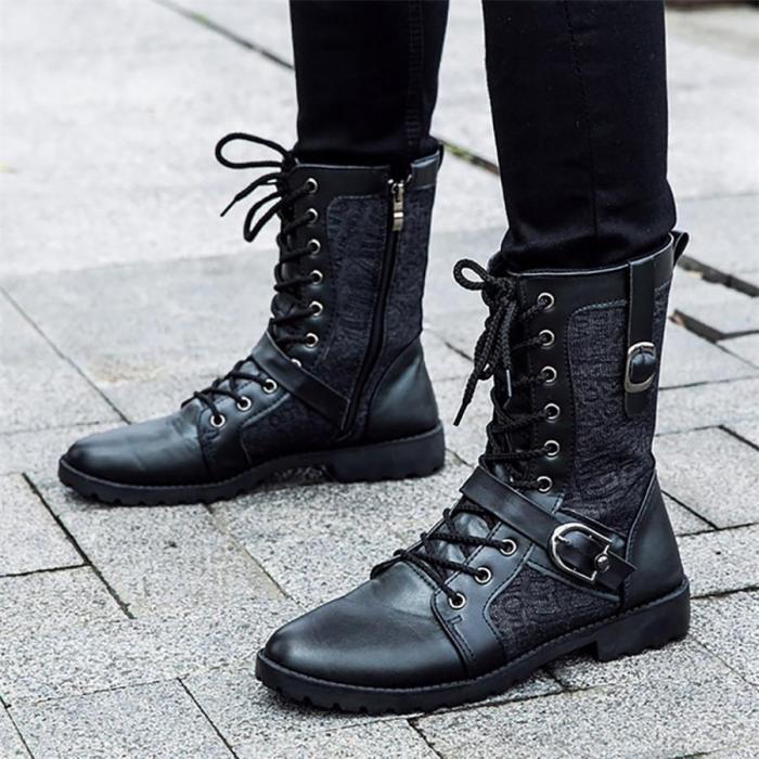 Men's belt buckle high boots Martin boots