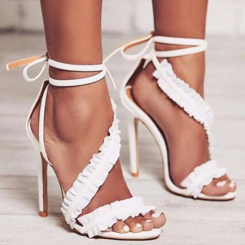Fashion Sexy Ruffled Simple Roman High Heel Sandals
