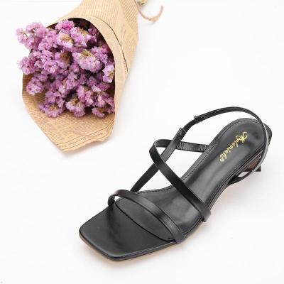 Women's Black PU Square Toe Adjustable Buckle Middle Heel Sandals